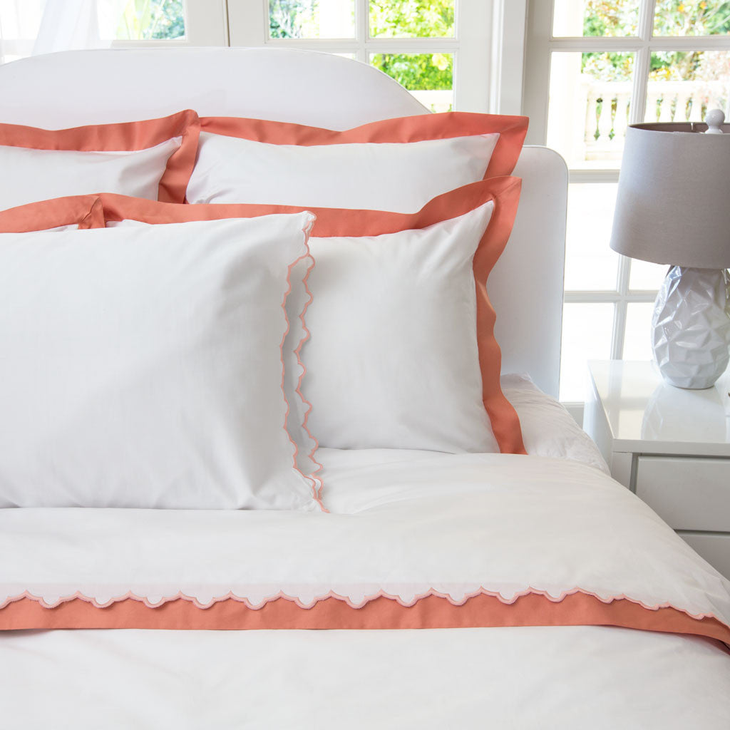 Bedroom inspiration and bedding decor | The Linden Coral Border Duvet Cover | Crane and Canopy