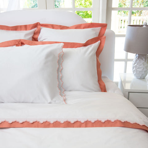 Bedroom inspiration and bedding decor | The Linden Coral Border | Crane and Canopy