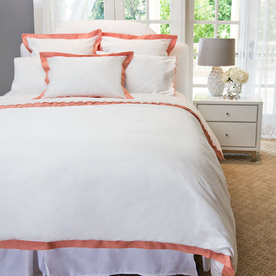 Bedroom inspiration and bedding decor | The Linden Apricot Border Duvet Cover | Crane and Canopy