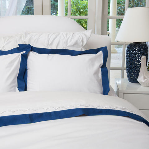 Bedroom inspiration and bedding decor | The Linden Monaco Blue Border Duvet Cover | Crane and Canopy