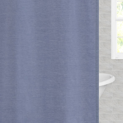 blue chambray shower curtain