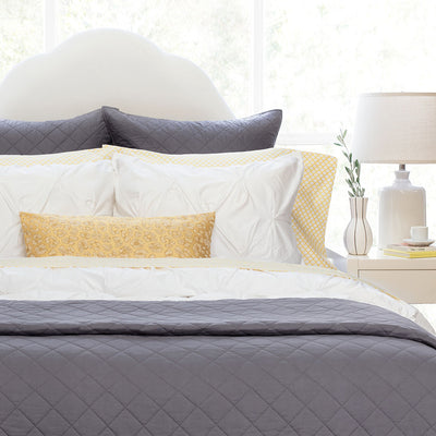 Charcoal Grey Diamond Quilt Euro Sham