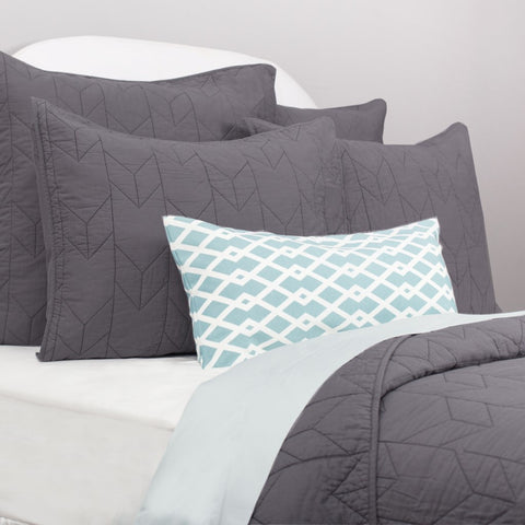 The Chevron Charcoal Grey Quilt & Sham