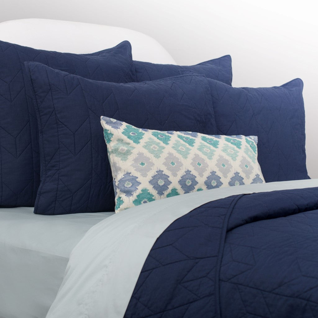 Bedroom inspiration and bedding decor | Navy Blue Chevron Quilt Euro Sham Duvet Cover | Crane and Canopy