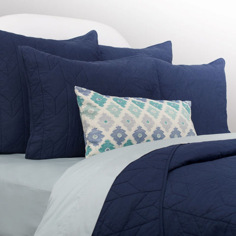 The Chevron Navy Blue Quilt & Sham