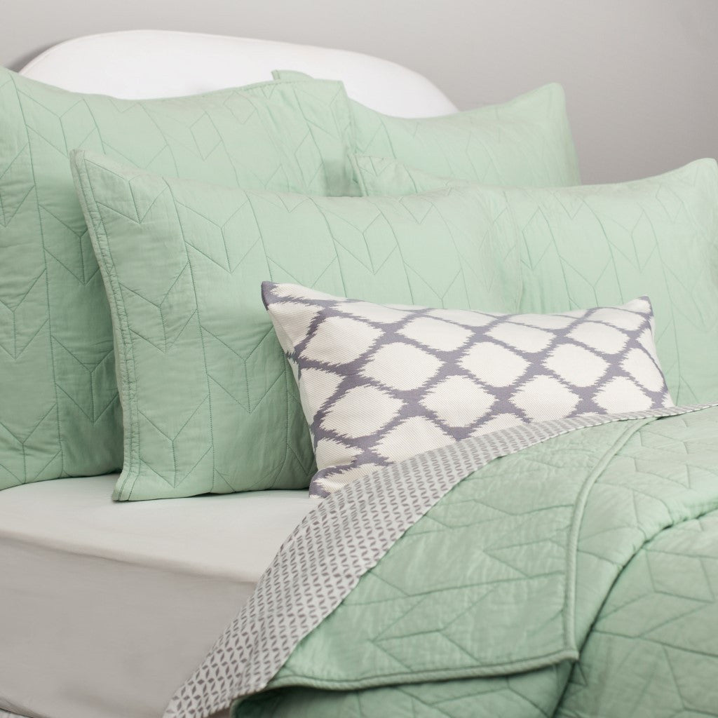 Bedroom inspiration and bedding decor | The Chevron Seafoam Green Quilt & Sham Duvet Cover | Crane and Canopy