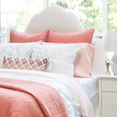Bedroom inspiration and bedding decor | The Coral and Brown Flowers Throw Pillows | Crane and Canopy