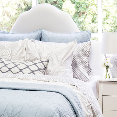 Light Blue Chevron Quilt Euro Sham
