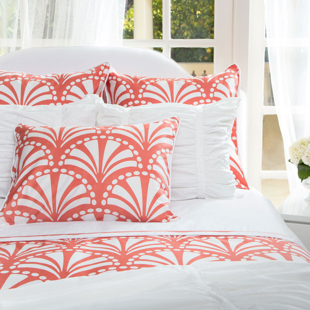 Bedroom inspiration and bedding decor | The Clementina Coral OLD Duvet Cover | Crane and Canopy