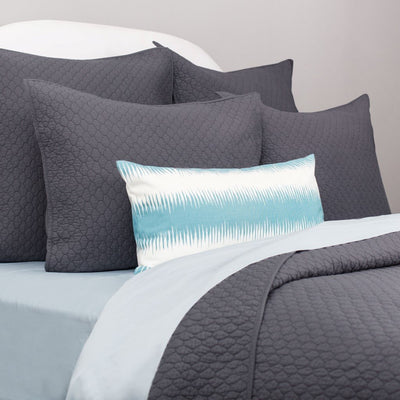 Bedroom inspiration and bedding decor | Teal and White Rhythm Throw Pillow Duvet Cover | Crane and Canopy