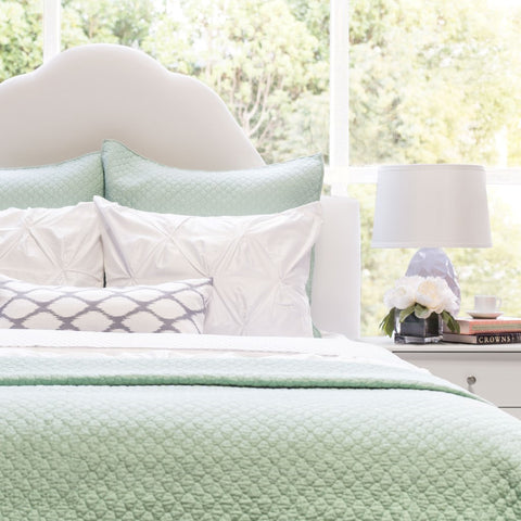 Bedroom inspiration and bedding decor | The Cloud Seafoam Green Quilt & Sham | Crane and Canopy
