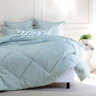 Bedroom inspiration and bedding decor | Porcelain Green Flange Euro Sham Duvet Cover | Crane and Canopy