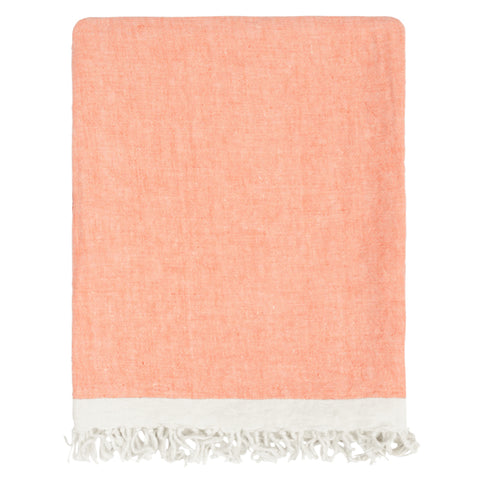 The Coral Solid Linen Throw