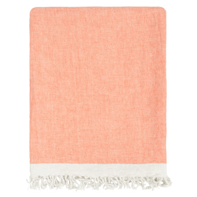 Coral Solid Linen Throw