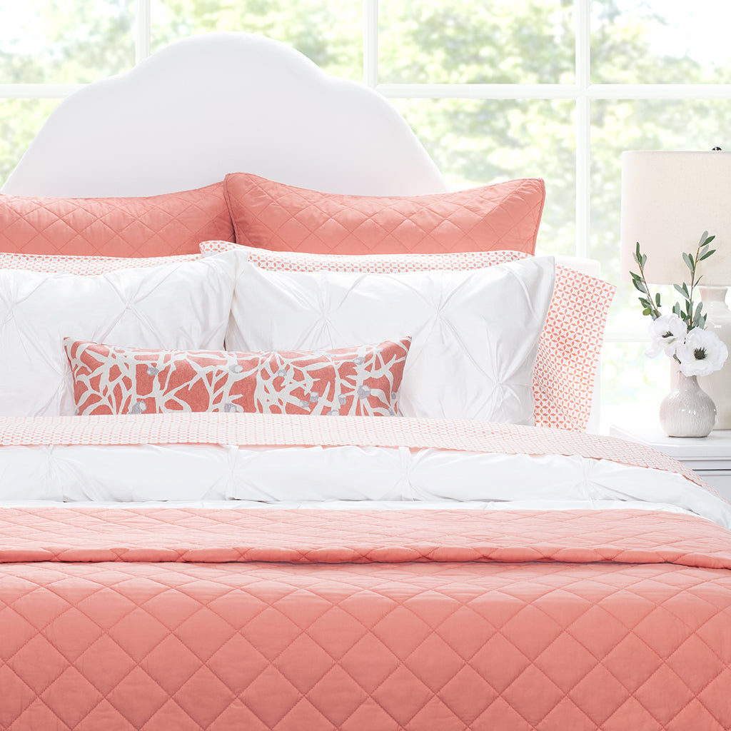 Bedroom inspiration and bedding decor | Coral Diamond Quilt Euro Sham Duvet Cover | Crane and Canopy
