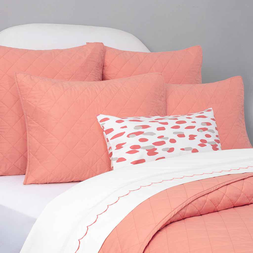 Bedroom inspiration and bedding decor | Coral Diamond Quilt Sham Duvet Cover | Crane and Canopy