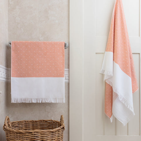 Bedroom inspiration and bedding decor | The Coral Dot Fouta Towels | Crane and Canopy