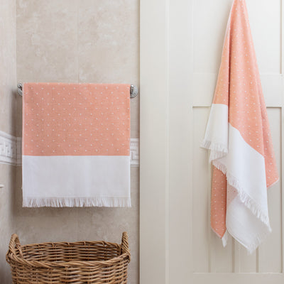 Coral Dot Fouta Towel Essentials Bundle (2 Wash + 2 Hand + 2 Bath Towels)