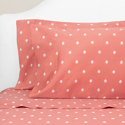 Bedroom inspiration and bedding decor | Coral Flora Flat Sheets | Crane and Canopy