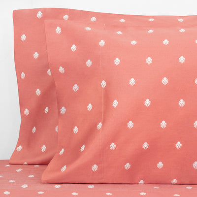 Coral Flora Pillow Case