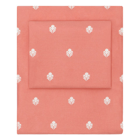 Coral Flora Sheet Set 1 (Fitted, Flat, & Pillow Cases)