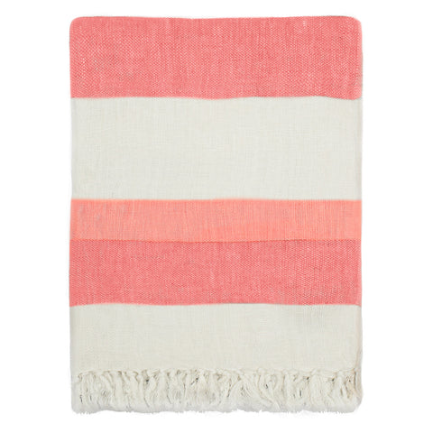 The Coral Multi Stripe Linen Throw