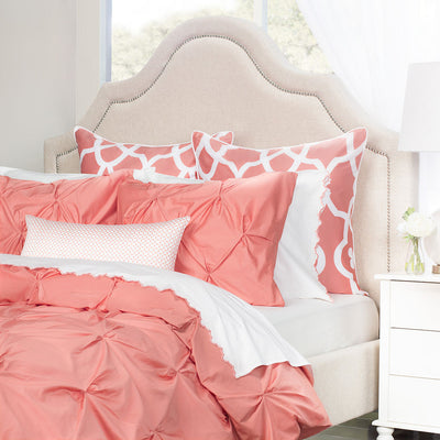 Bedroom inspiration and bedding decor | Coral Valencia Pintuck Sham Duvet Cover | Crane and Canopy