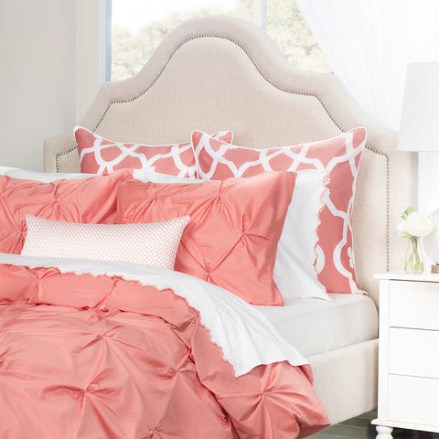 Bedroom inspiration and bedding decor | The Valencia Coral Pintuck Duvet Cover | Crane and Canopy