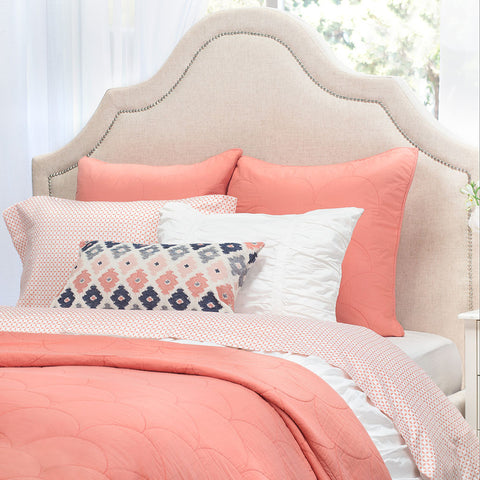 Bedroom inspiration and bedding decor | The Scalloped Coral Quilt & Sham Duvet Cover | Crane and Canopy
