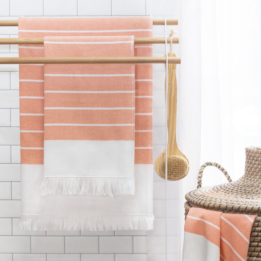 Bedroom inspiration and bedding decor | Coral Stripe Fouta Hand Towel Duvet Cover | Crane and Canopy