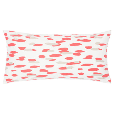Coral and Grey Brushstrokes Throw Pillow