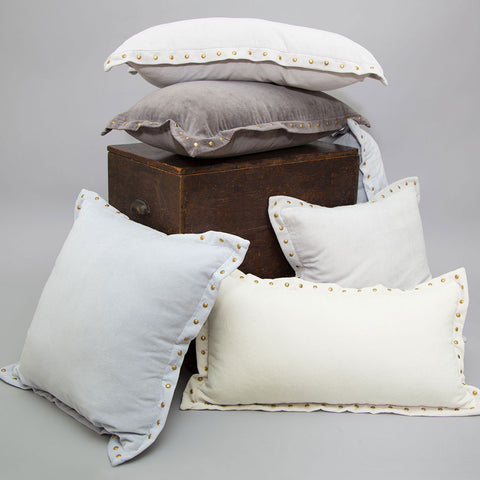 Bedroom inspiration and bedding decor | The Dark Grey Studded Velvet Throw Pillows | Crane and Canopy