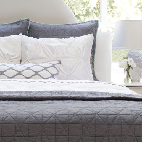 Bedroom inspiration and bedding decor | The Diamond Box-Stitch Charcoal Grey Quilt & Sham | Crane and Canopy