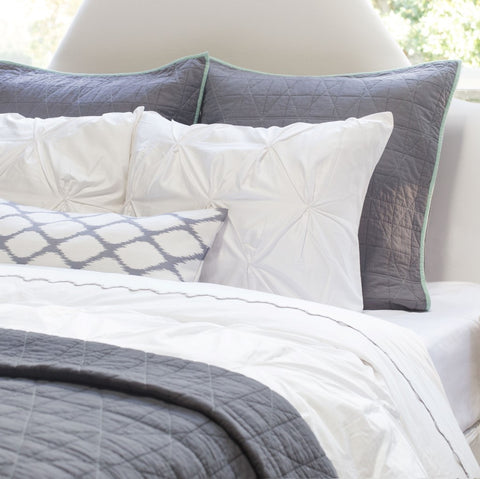 Bedroom inspiration and bedding decor | The Diamond Box-Stitch Charcoal Grey Quilt & Sham Duvet Cover | Crane and Canopy