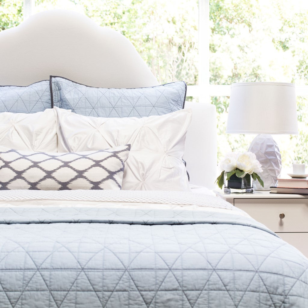 Bedroom inspiration and bedding decor | The Diamond Box-Stitch Light Blue Quilt & Sham Duvet Cover | Crane and Canopy