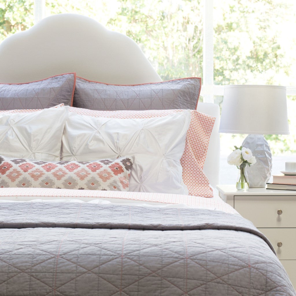 Bedroom inspiration and bedding decor | The Diamond Box-Stitch Light Grey Quilt & Sham Duvet Cover | Crane and Canopy