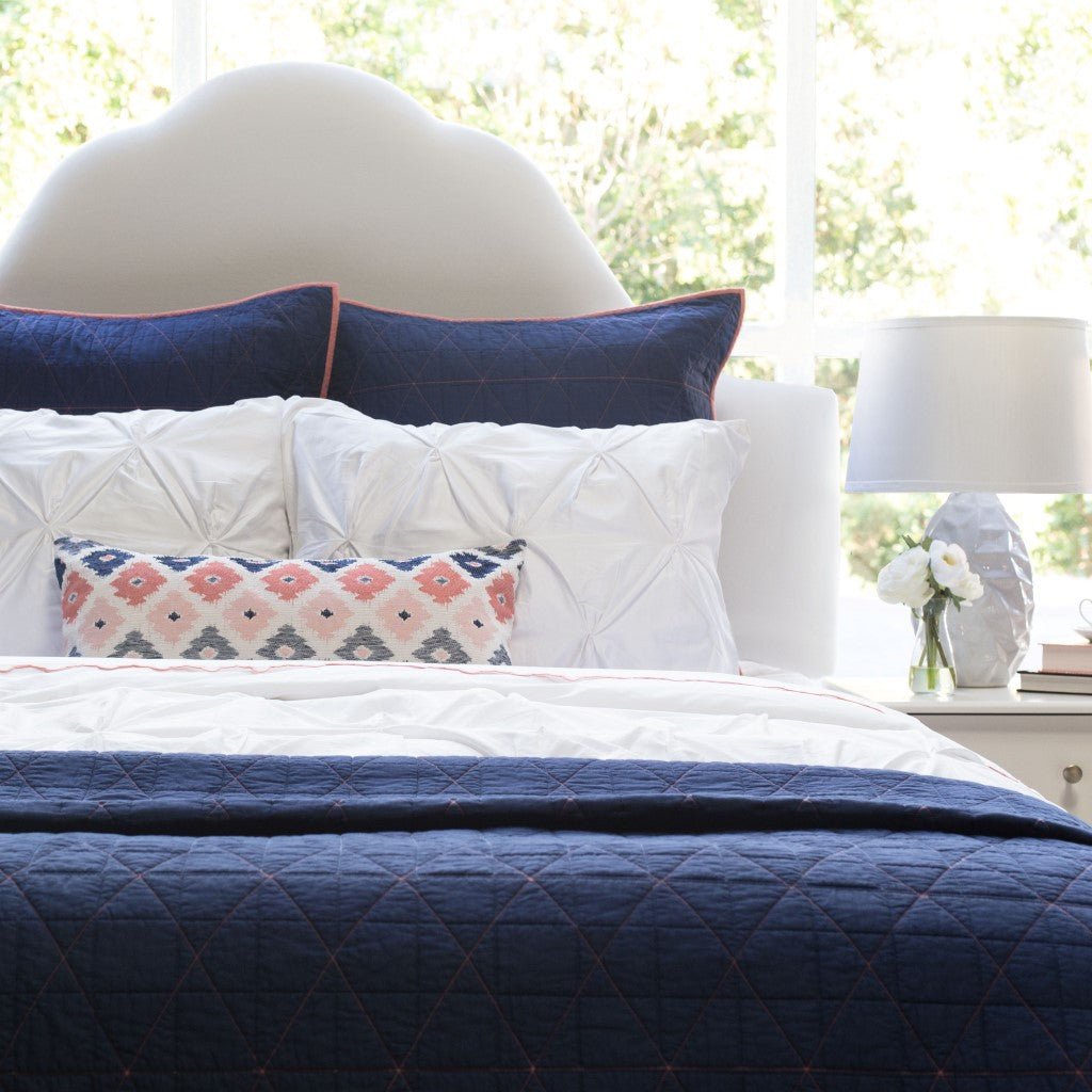 The Diamond Box-Stitch Navy Blue Quilt & Sham | Crane & Canopy : blue quilts bedding - Adamdwight.com