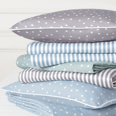 Bedroom inspiration and bedding decor | The Porcelain Green Polka Dots Sheet Sets | Crane and Canopy