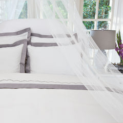 Bedroom inspiration and bedding decor | The English Linden Grey Border | Crane and Canopy