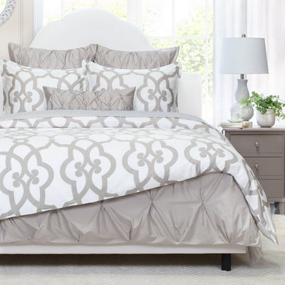 Bedroom inspiration and bedding decor | Dove Grey Florentine Euro Sham Duvet Cover | Crane and Canopy