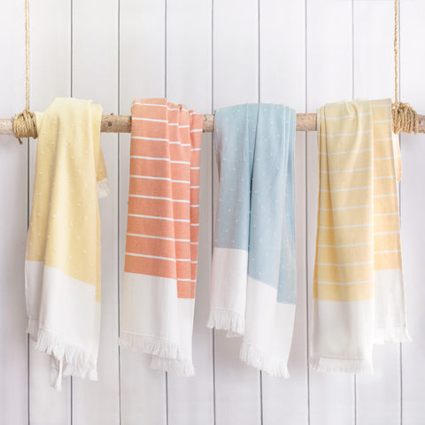 Bedroom inspiration and bedding decor | The Coral Stripe Fouta Towels Duvet Cover | Crane and Canopy