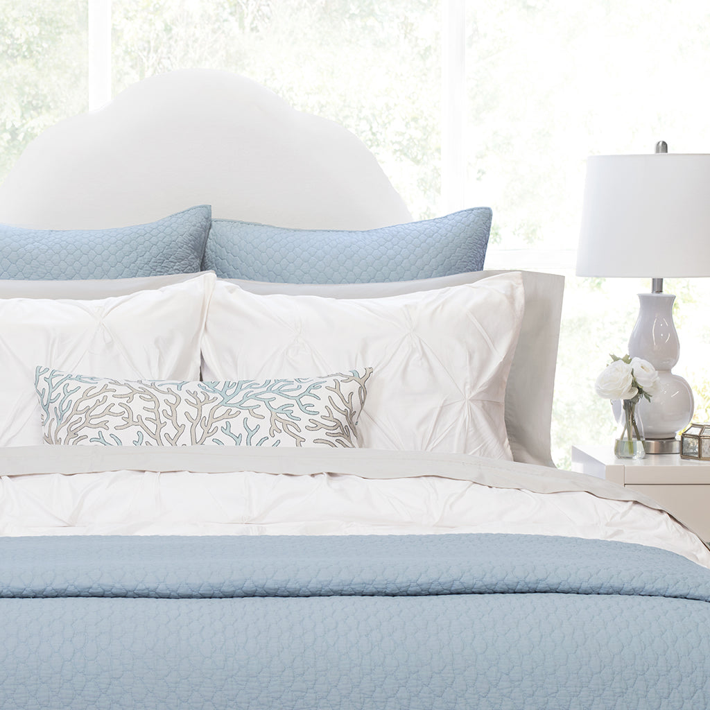 Bedroom inspiration and bedding decor | French Blue Cloud Quilt Euro Sham Duvet Cover | Crane and Canopy