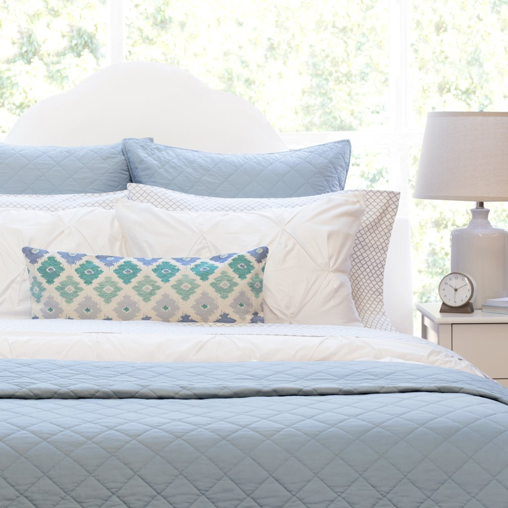 Bedroom inspiration and bedding decor | French Blue Diamond Quilt Duvet Cover | Crane and Canopy