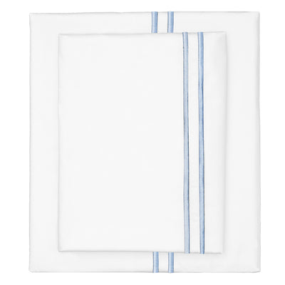 French Blue Lines Embroidered Sheet Set 1 (Fitted, Flat, & Pillow Cases)