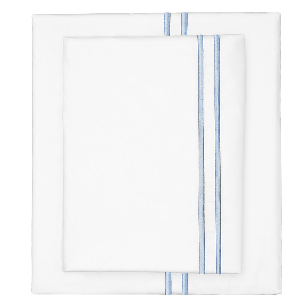 Bedroom inspiration and bedding decor | The French Blue Lines Embroidered Sheet Sets | Crane and Canopy