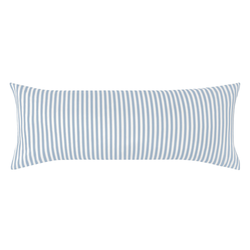 Bedroom inspiration and bedding decor | The French Blue Striped Extra Long Throw Pillow Duvet Cover | Crane and Canopy