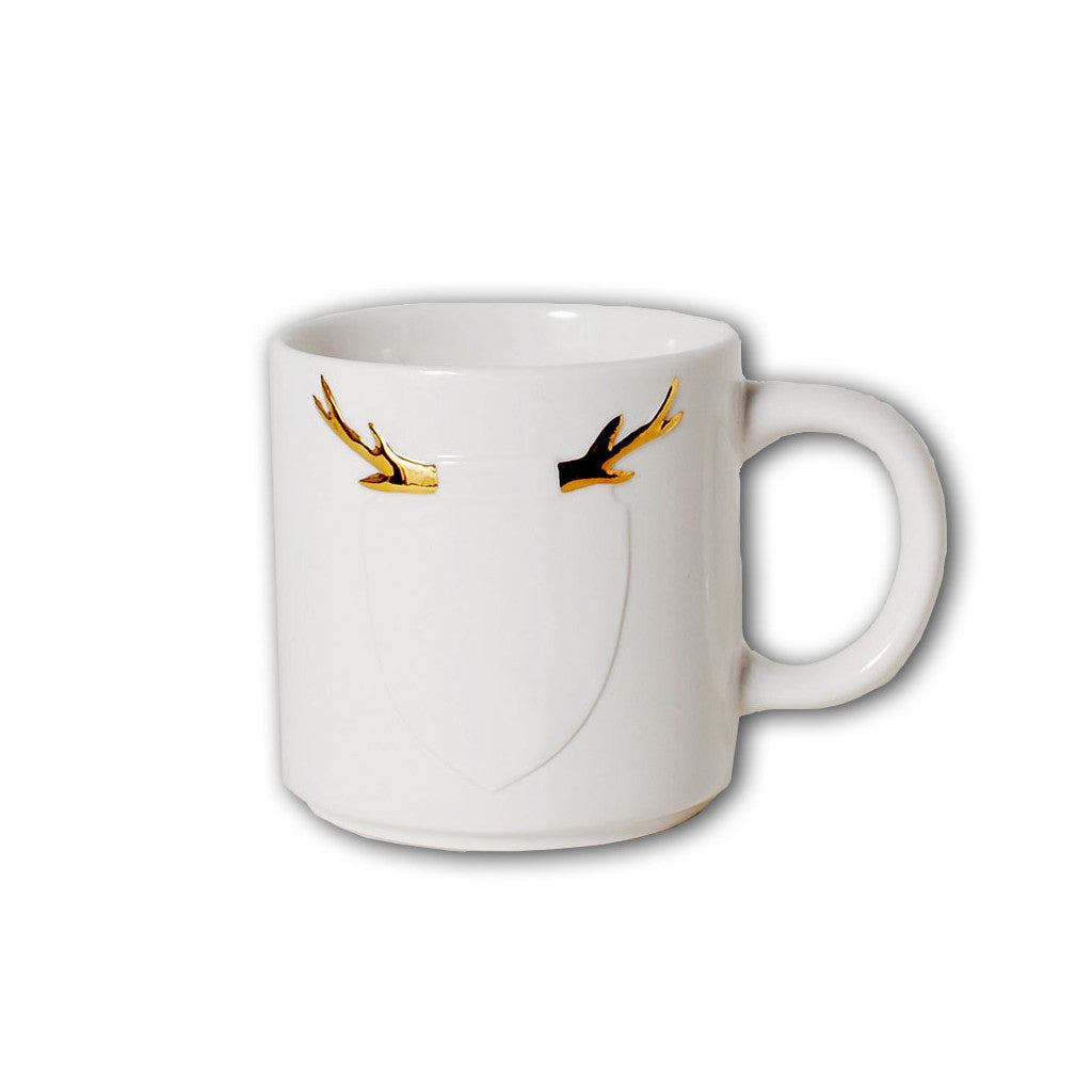 Bedroom inspiration and bedding decor | The Gold Antler Crest Mug | Crane and Canopy