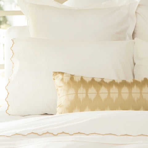 Bedroom inspiration and bedding decor | The Gold Ikat Throw Pillows | Crane and Canopy