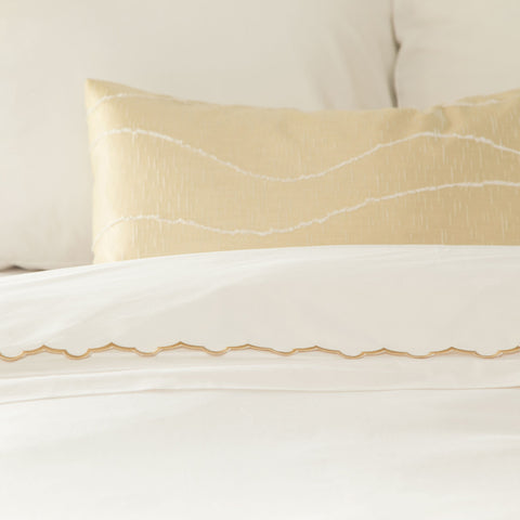 Bedroom inspiration and bedding decor | The Gold Scalloped Embroidered Sheet Sets | Crane and Canopy