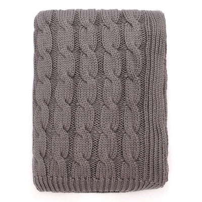 Grey Large Cable Knit Throw